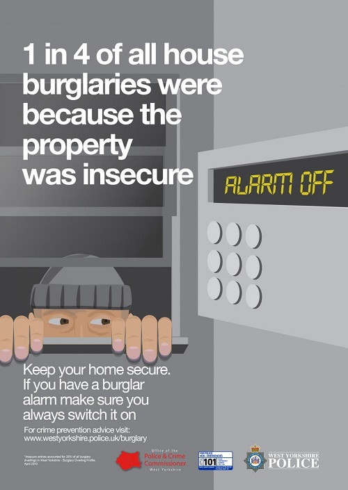 West Yorkshire Police anti-burglary campaign - alarm