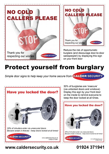 Home security downloadable door signs