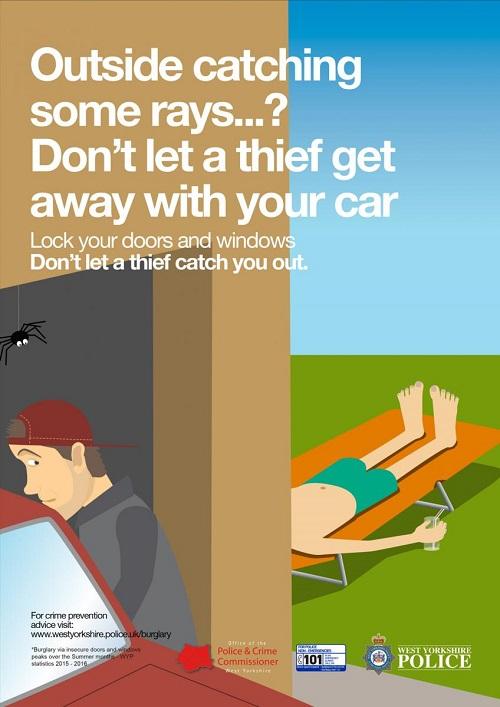 Spring burglary campaign - sunbathing