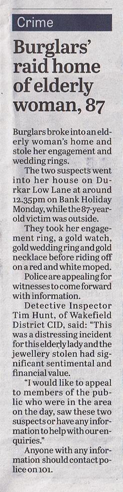 Burglary news clipping