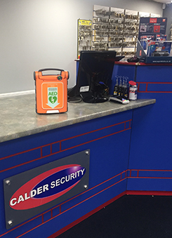 Defib machine at Calder Security