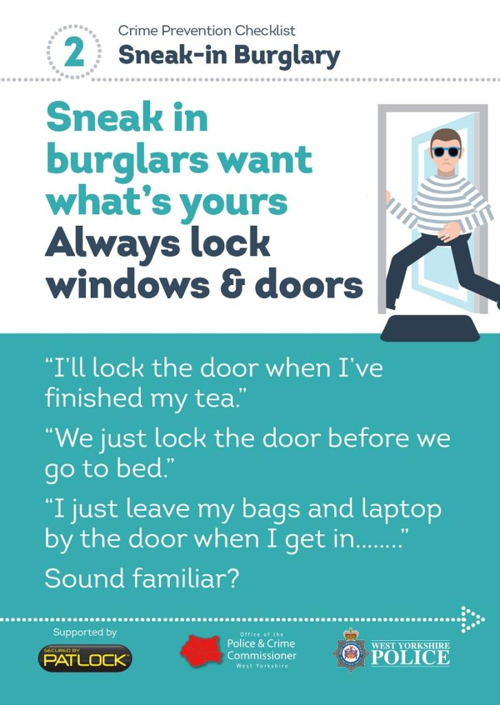 WYP spring burglary campaign - sneak in burglars